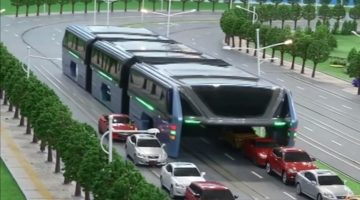 Futuristic Elevated Bus Hits the Road in China