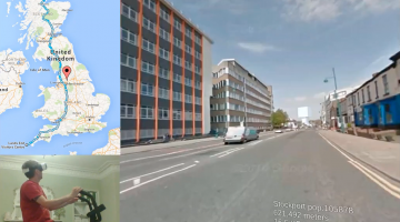Man Cycling around the UK in Virtual Reality using Google Street View